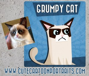 Grumpy Cat Meme cartoon cute portrait