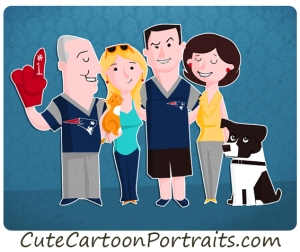 Cute Cartoon Portraits family christmas dog patriots