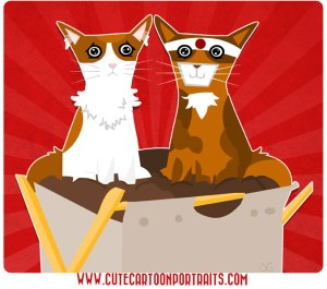 cute cartoon portraits kitties
